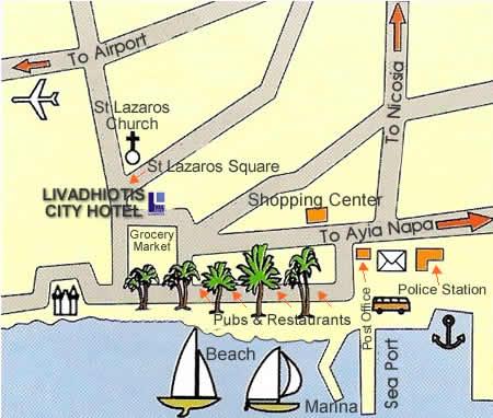 Livadhiotis Hotel Larnaca Cyprus - Map of napa hotels